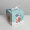 Коробка складная «Новогодние коты», 12 × 12 × 12 см
