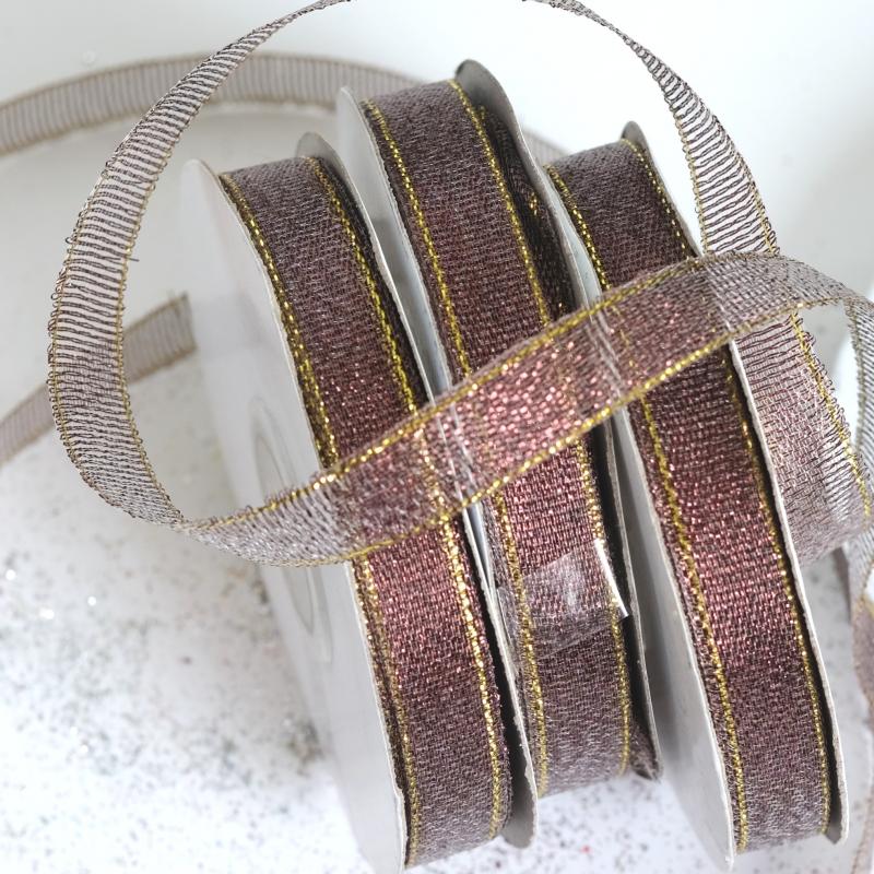 Лента парча с золотым кантом шоколадная - 1м