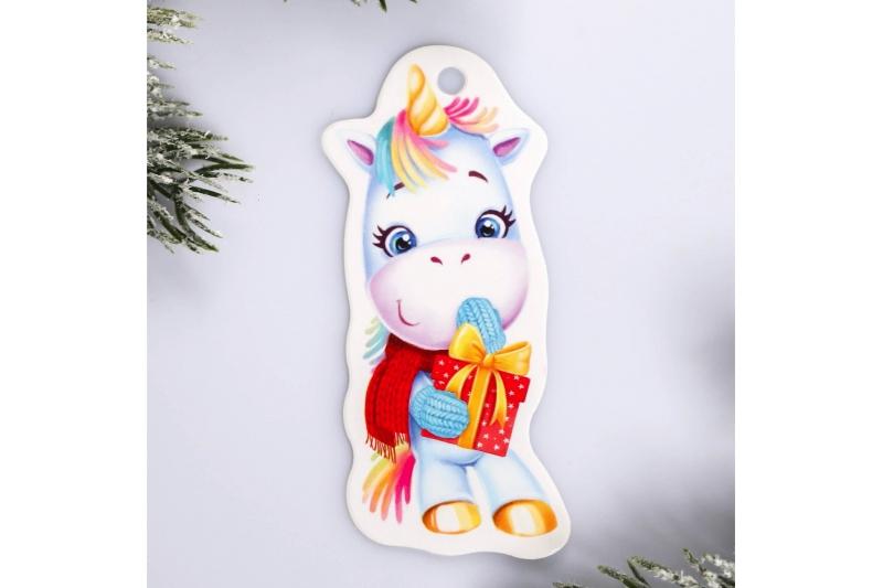 Шильдик на подарок Новый год «Единорог», 3,5 ×8,7 см