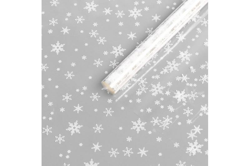 "Пленка глянцевая ""Снежинки"", белая, 0,7 х 8,2 м, 40 мкм, 200 гр"