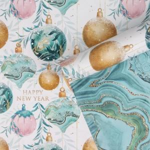 Бумага упаковочная глянцевая двухсторонняя «Елочные шары», 70 × 100 см