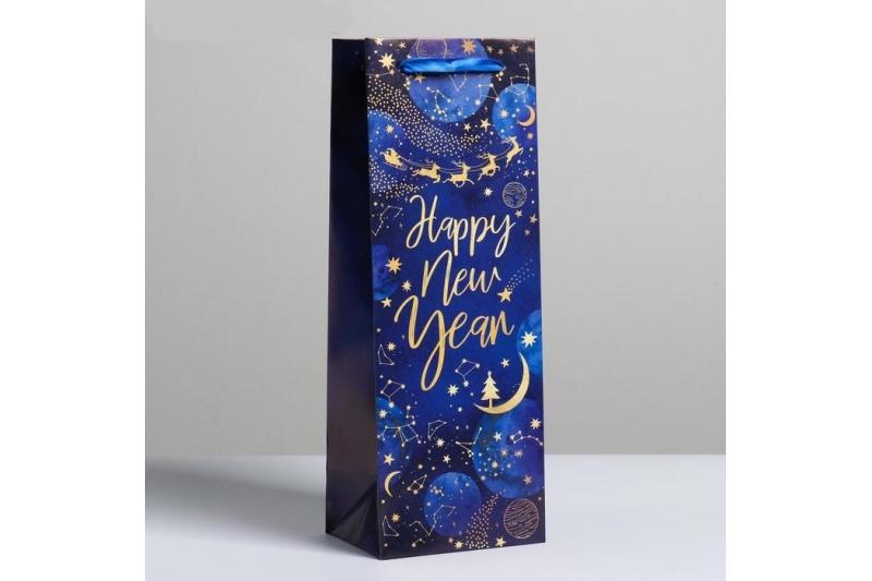 Пакет под бутылку «Новогодний космос», 13 × 36 × 10 см