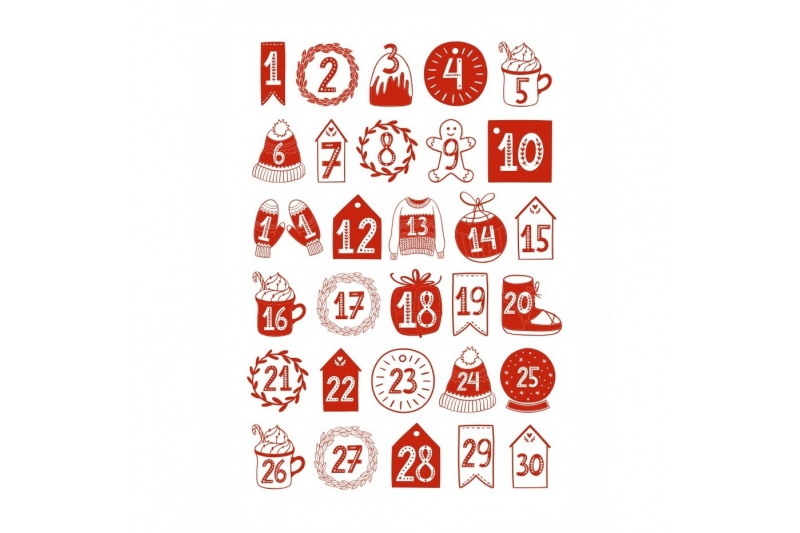Наклейки для адвент-календаря на прозрачной пленке (30 чисел)