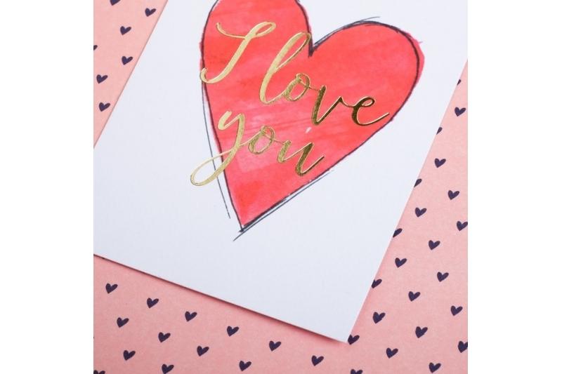 Открытка на акварельном картоне с тиснением I love you, 7,5 х 10,5 см