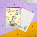 Открытка поздравительная с голографией Happy birthday, единорог, 7,5 х 10 см