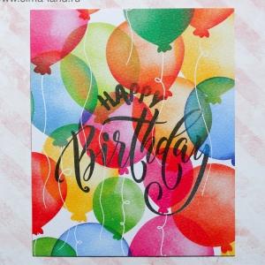 Открытка на акварельном картоне Happy Birthday, 8,8 х 10,7 см