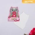 Открытка поздравительная «8 Марта!» котик, тиснение, 8 × 9 см