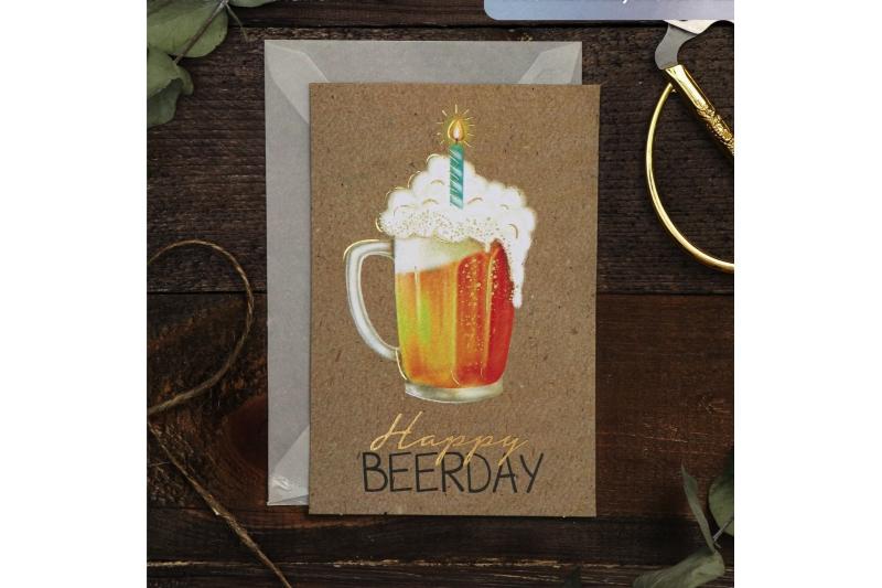 Открытка на акварельном картоне Happy Beerday, 10 х 15 см