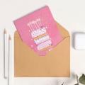 Открытка на акварельном картоне с тортиком «С Днем Рождения!», 11,8 х 16,4 см