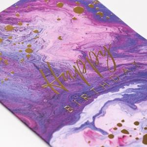 """Открытка на акварельном картоне лиловая """"Happy Birthday"""", 11,8 х 16,4 см"""