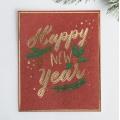Открытка на акварельном картоне Happy New Year, тиснение, 10.7 × 8.8 см