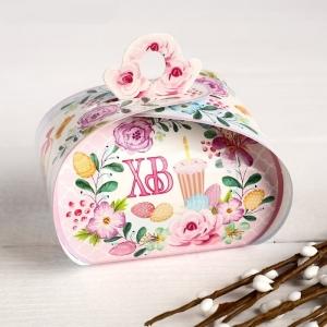 """Пасхальная коробочка """"ХВ"""" корзинка с пасхальными яйцами, 9 х 7 х 6 см"""