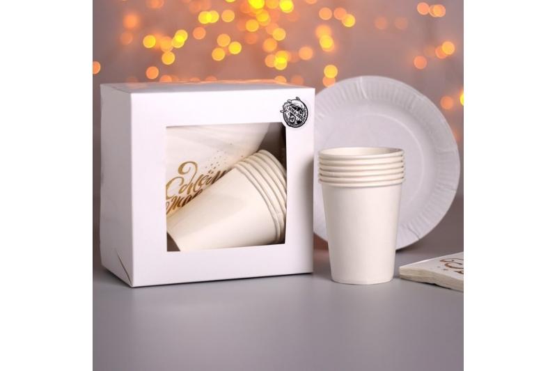 Набор бумажной посуды «Happy birthday» белый с золотом