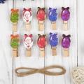 """Прищепки декоративные с веревкой для подвеса """"Пасхальные яйца"""" набор 10 шт"""