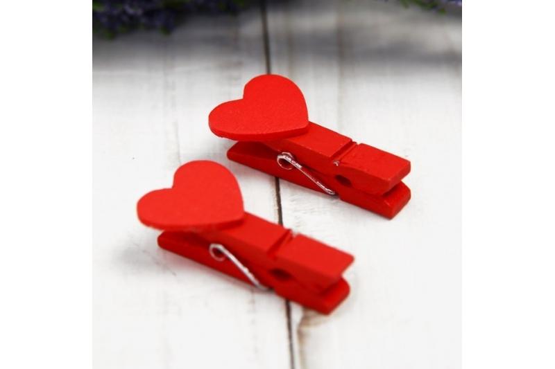 """Набор декоративных прищепок """"Сердечки красные"""" набор 20 шт."""