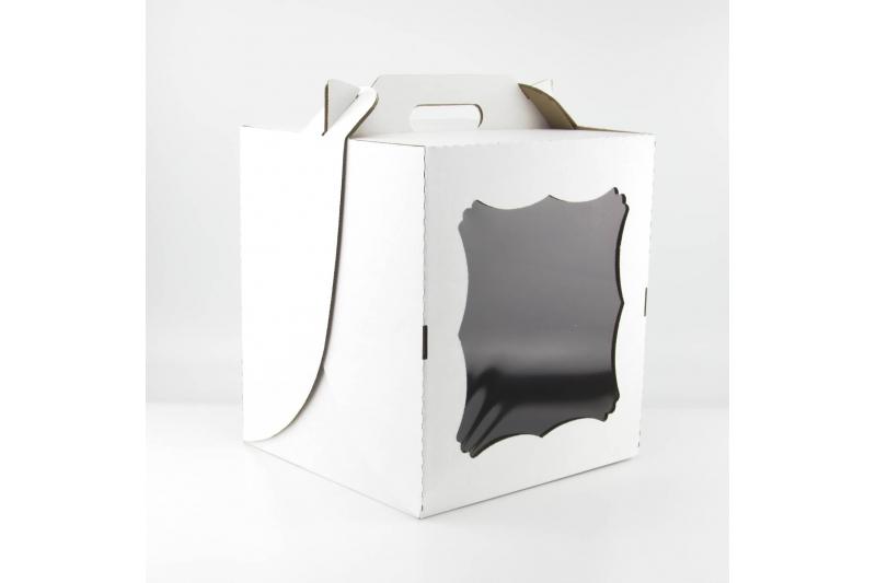 Коробка для торта с окном и ручкой 26*26*30 см