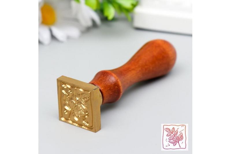 """Печать для сургуча с деревянной ручкой """"Веточка с листьями"""" 9х2,5х2,5 см"""