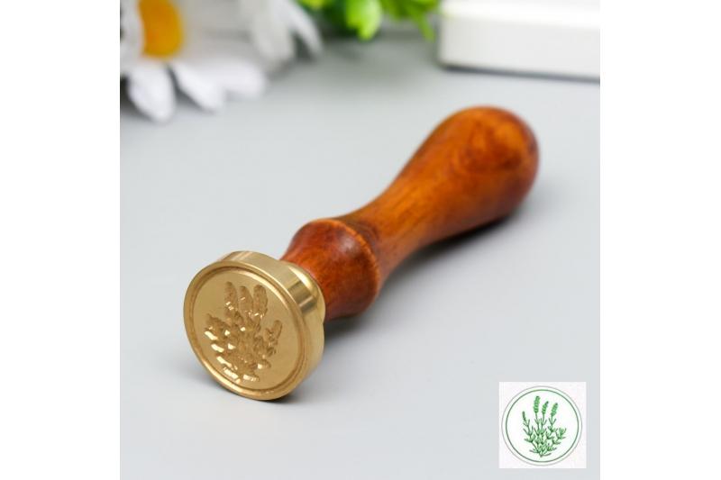 """Печать для сургуча с деревянной ручкой """"Лаванда"""" 9х2,5х2,5 см"""